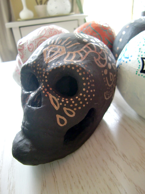 brown sugar skull with copper design