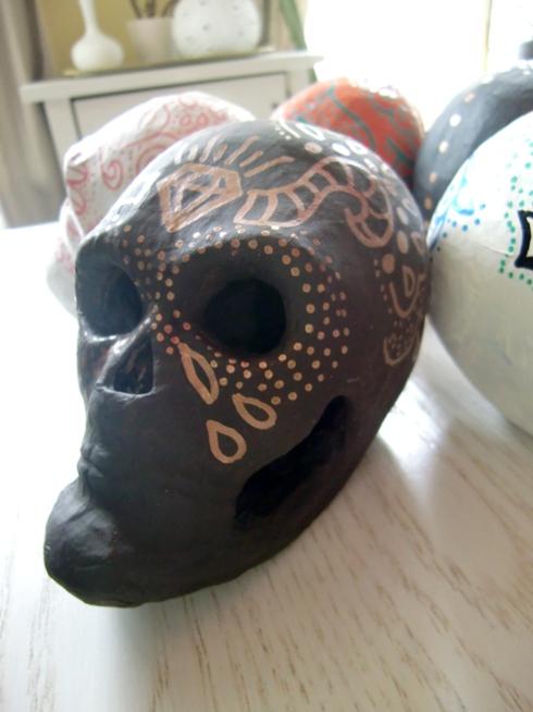 brown sugar skull with copper design