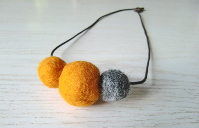 Orange and grey felt bead necklace - $17