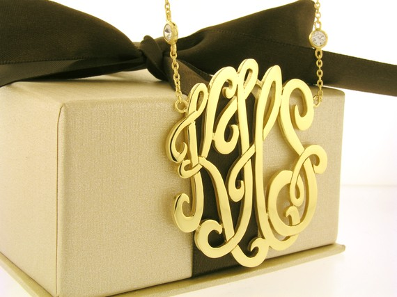 monogram necklace from etsy