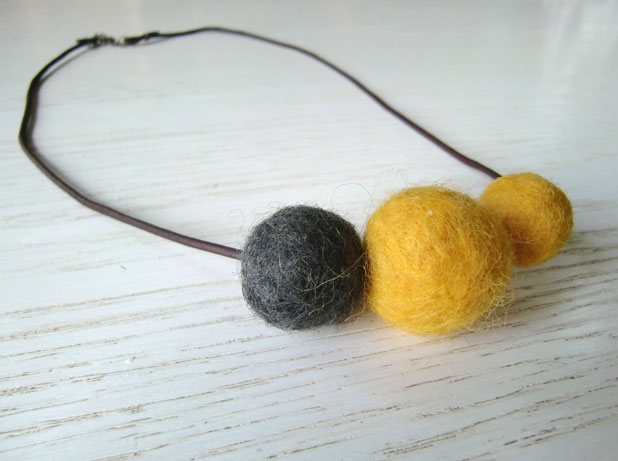 Mustard & Charcoal felt bead necklace - $17