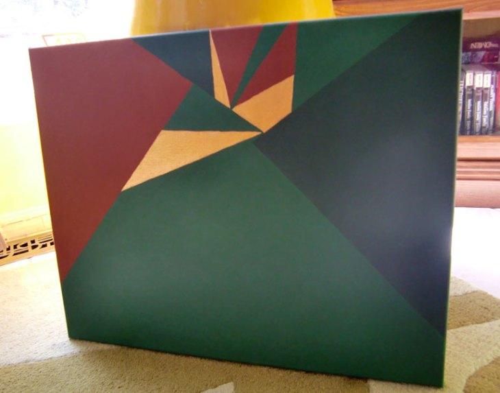 Green, burnt sienna & gold triangles acrylic painting made in Winnipeg by Kristen Lourie