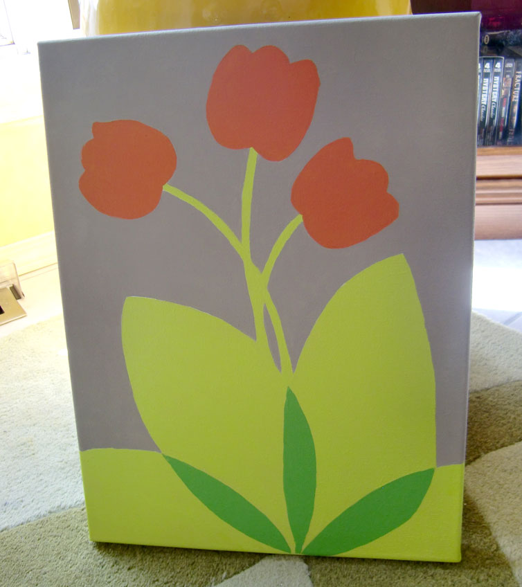 Graphic tulip painting made in Winnipeg by Kristen Lourie