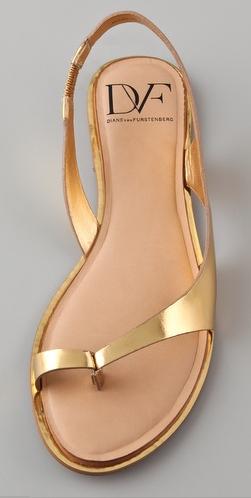 Diane Von Furstenberg Kaiti Thong Gold Sandal