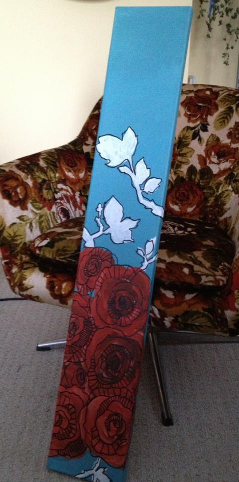 Winter Roses painting by Kristen Lourie Winnipeg MB