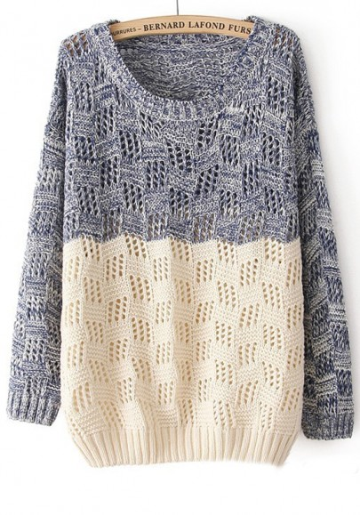 grey-patchwork-round-neck-loose-wool-blend-sweater
