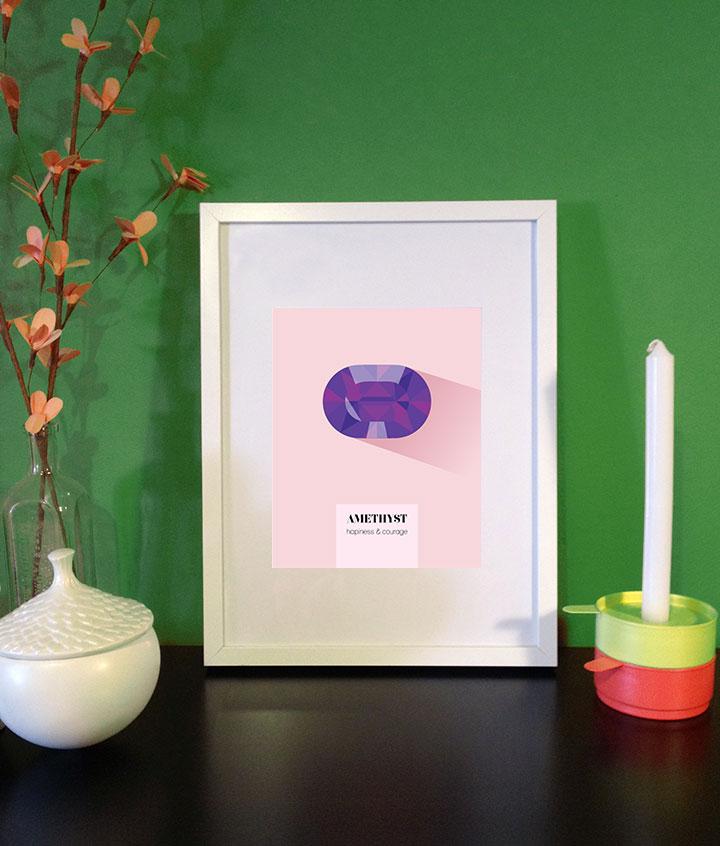 February birthstone Amethyst print