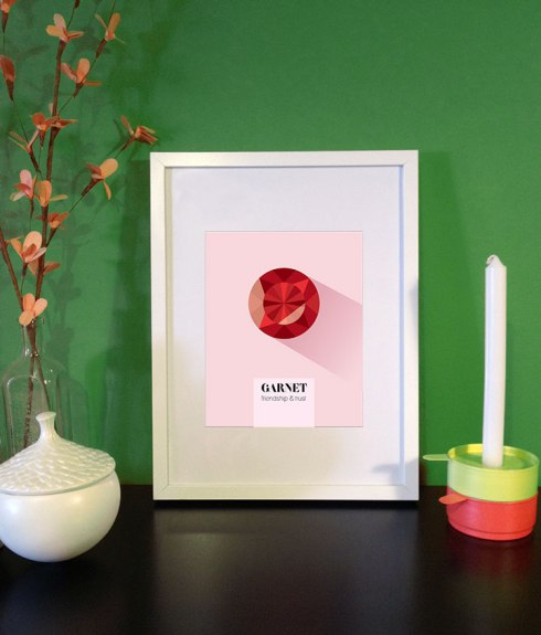 garnet gem birthstone print