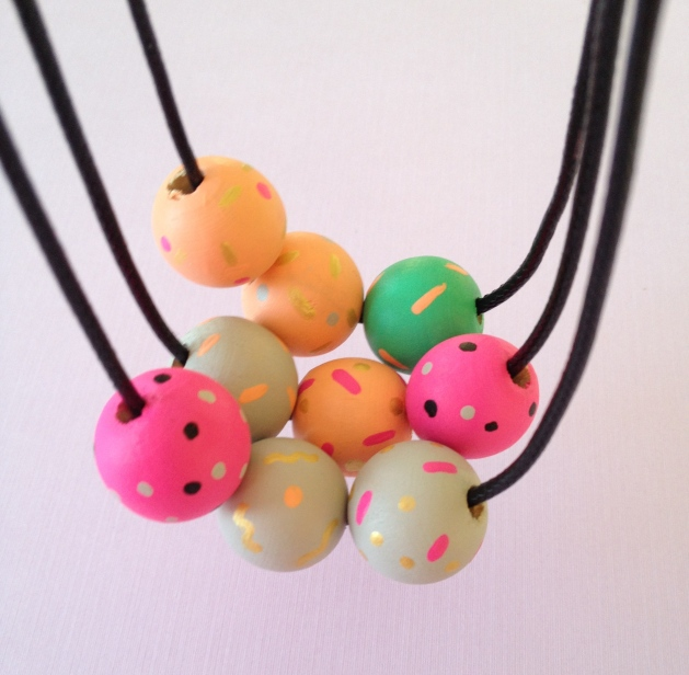 wooden bead 1980's looking particle party necklace