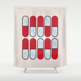 pop art pill shower curtain