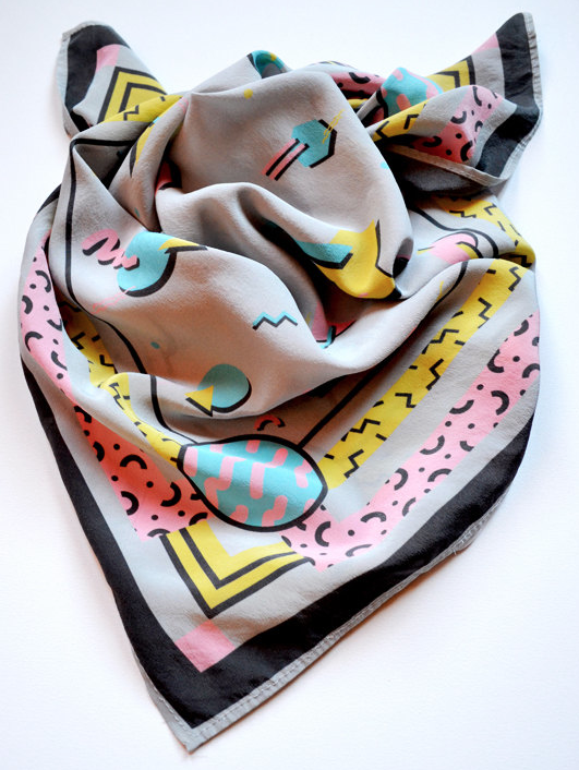 santo domingo workshop kobalt silk scarf 1990s pattern