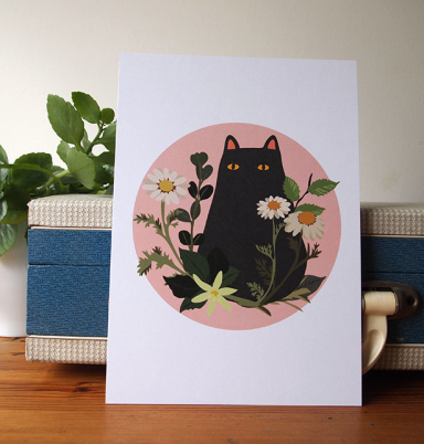 black cat with foliage print by I Like Cats on etsy