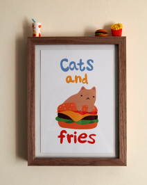 cats and fries by I Like Cats on etsy