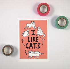 i like cats mini print