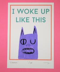 I woke up like this cat I Like Cats on etsy