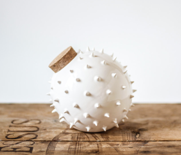 spiky ceramic jar inspired by blowfish by olis cupboard on etsy
