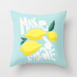 make lemonade cute funny pillow society6 kristen lourie