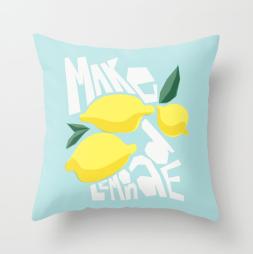 make lemonade cute funny pillow society6 kristen lourie