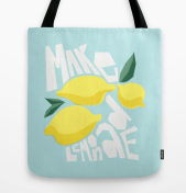 make lemonade motivational inspirational poster quote print art tote bag