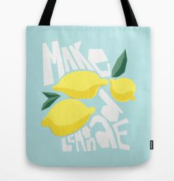 make lemonade motivational inspirational poster quote print art tote bag