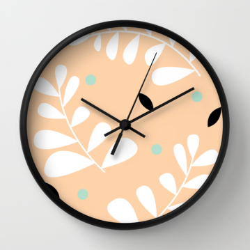 simple fern clock in peach by Kristen Lourie