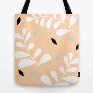 simple fern tote bag in peach by Kristen Lourie