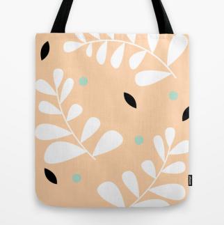 simple fern tote bag in peach by Kristen Lourie
