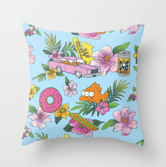 simpsons inspired design pillow by Josh Ln