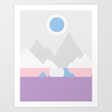 Cold Mountain Night by the Lake print by Kodiak Milly