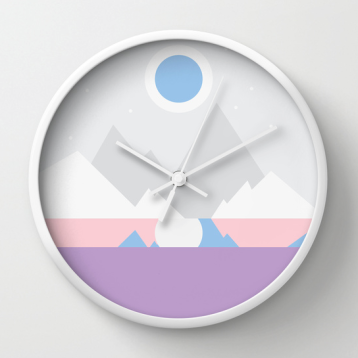 Cold Mountain Night by the Lake wall clock on Society6