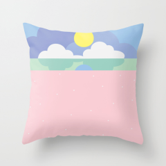 Moonrise on the beach pillow