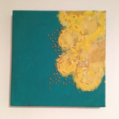 """Turquoise and yellow painting with ochre stitching roughly 10"""" square - $15"""