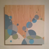 """Grey circles painting on wood, about 18"""" square, $40"""