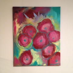 """Peonies on canvas, about 16""""x20"""" - $40"""