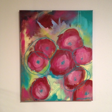 "Peonies on canvas, about 16""x20"" - $40"