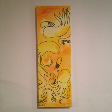 "Occupied painting, about 10""x36"", $40 - SOLD"