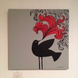 """Blackbird singing painting, about 12"""" square, $20"""