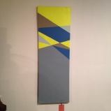 """neon and grey geo painting on canvas, big, about 12""""x36"""", $25"""