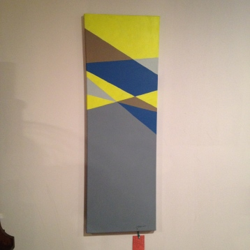"neon and grey geo painting on canvas, big, about 12""x36"", $25"