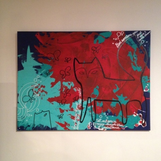 Fox & Butterflies, big painting on canvas, $60 - SOLD
