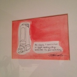 Watercolour asthma painting in large square frame, $20