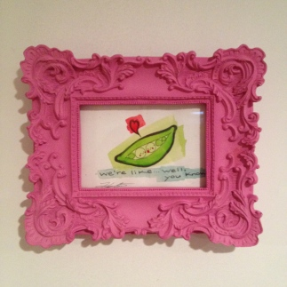 """Peas in a pod painting in pink frame, watercolour is about 6""""x4"""" $20"""