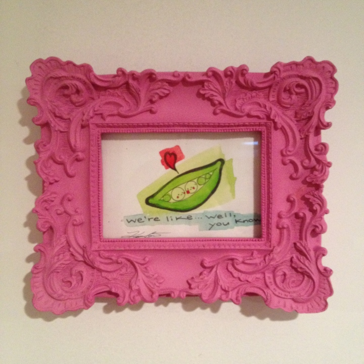"Peas in a pod painting in pink frame, watercolour is about 6""x4"" $20"