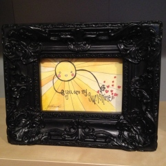 """You are my sunshine watercolour painting in frame, print is about 6""""x4"""", $20"""