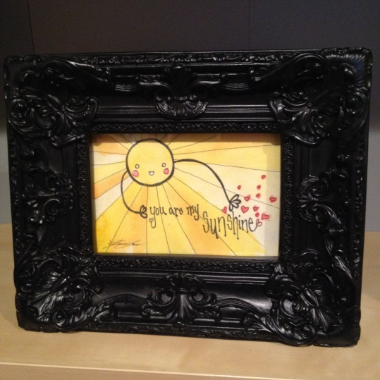 "You are my sunshine watercolour painting in frame, print is about 6""x4"", $20"
