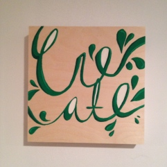 Create typography script painting on wood, $20