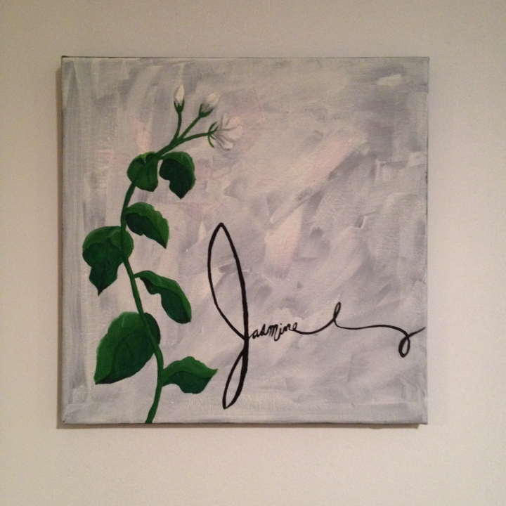 "Jasmine flower painting, about 12"" square on canvas, $20"