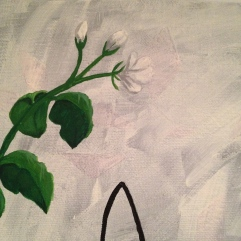 """Jasmine flower painting, about 12"""" square on canvas, $20"""