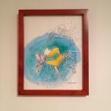 "Watercolour fox, incudes frame, about 8""x10"" $20"