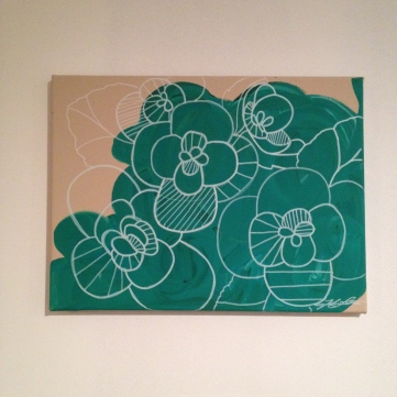 """emerald peonies painting, about 14""""x12"""", $20 - SOLD"""